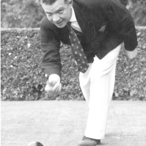 Ex football referee Jim Finney on the bowling green.