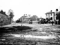 Haulage wagons near the Swan Inn, Figges Marsh