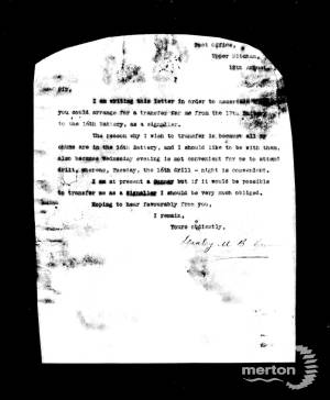 Letter from Stanley Crewes asking to be transferred to a different Battalion