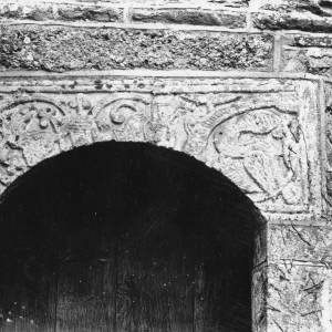 Acton Beauchamp church, lintel over tower door