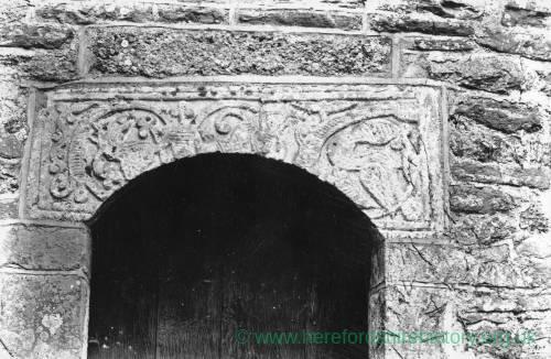 Acton Beauchamp church, lintel over tower door