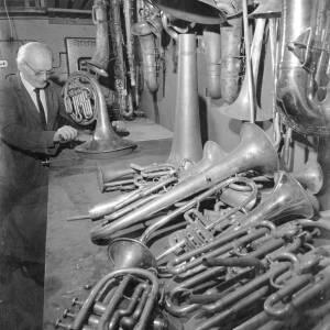 A brass instrument workshop.