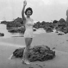 Unknown woman on beach