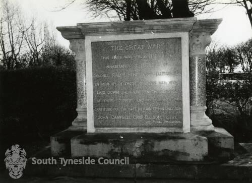 Great War Dedication Stone at Carr Ellison Park