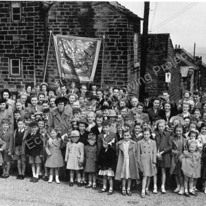 Methodist Whitsun. Parade at Norfolk Hill, Grenoside c.1948