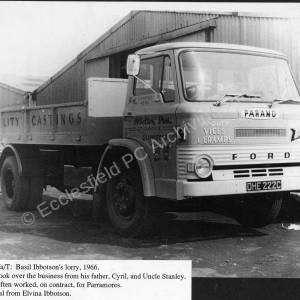 Basil Ibbotson's lorry, 1966.