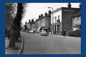 Church Road, The Bull Pub and shops, Mitcham