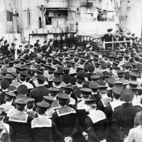 First Sea Lord A.V. Alexander addressing Royal Navy crews at Gladstone Dock, Bootle, 1944