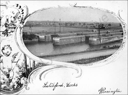 Latchford Locks, old postcard