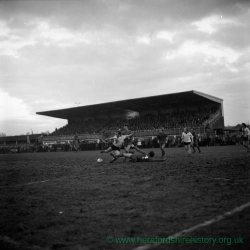 Action from the Hereford United v Newcastle Cup tie, Feb 1972.