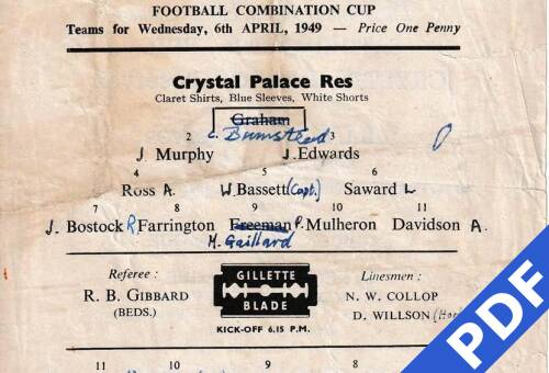 19490406 Official Programme Crystal Palace Away FCC