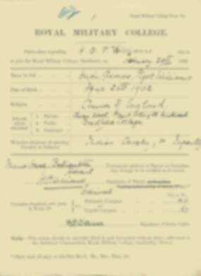 Hugh Williams -  RMC Form 18A Personal Detail Sheets Jan & Sept 1920 Intake
