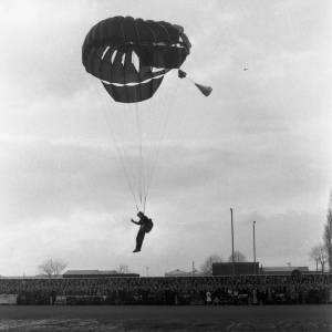 A parachutist lands on the Edgar Street ground before the Newcastle game, Feb 1972.