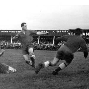Football action, Edgar Street, 1950s.