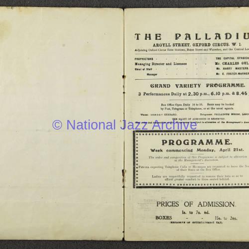 Original Dixieland Jazz Band, London Palladium. 1919 002