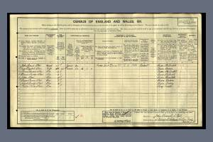 1911 Census for 15 Waterfall Cottages, Colliers Wood