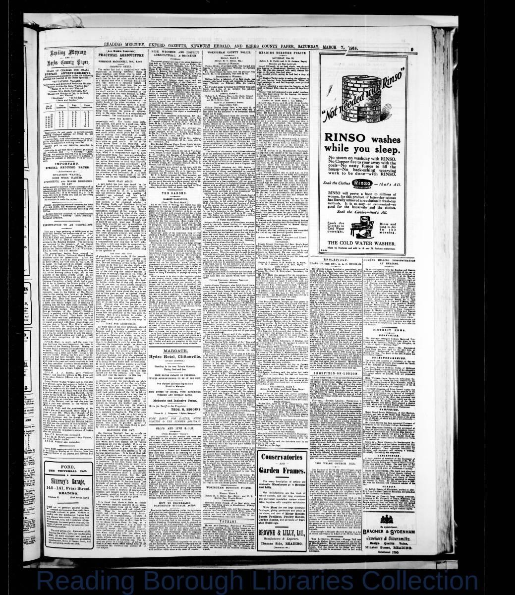 Reading Mercury Oxford Gazette Saturday, March  7, 1914. Pg 9