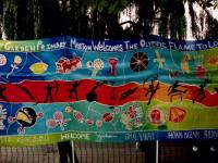 Banner welcoming the Olympic flame