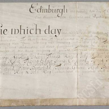 """Act of Council in favour of the """"chirurgiones exeeming them from peyment of the stend laid on for mentinance of the Touns Company"""""""