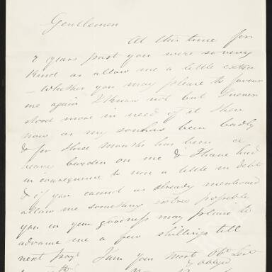 Petition from Widow Bennet requesting an advance