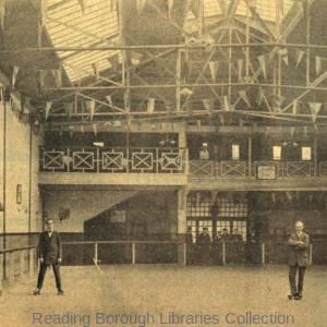 The Reading Central Roller Skating Rink, three gentlemen skating, c1912