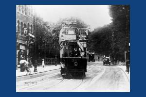 Tram at the foot of Wimbledon Hill