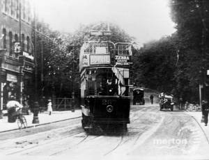 Tram at the foot of Wimbledon Hill