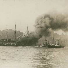 The Training Ship Wellesley on Fire