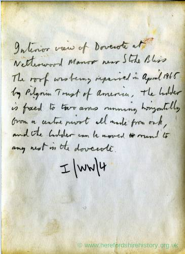 Stoke Bliss, Netherwold Manor, (text from reverse of Li14483a), 1965