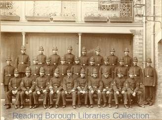 The Berkshire Constabulary in the yard of the County Police Station in Abbey Street, Reading, c1890