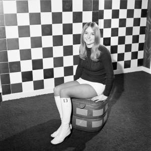 Wendy Mussell posing in Hereford United colours in Jan 1972.
