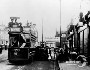 Tram opposite Wimbledon Station