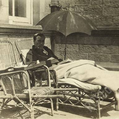 Patient Resting Outdoors with a Book