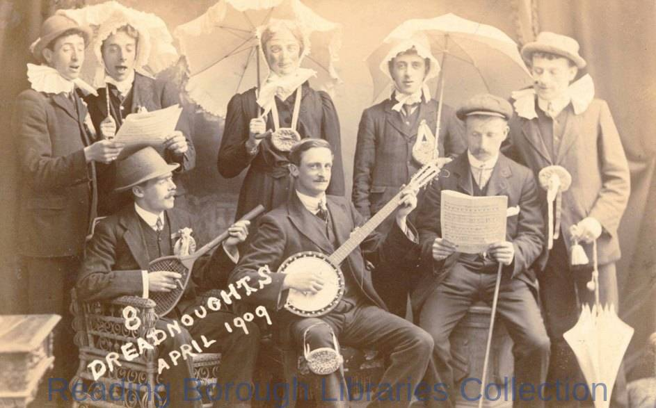 The Eight Dreadnoughts concert party, April 1909.