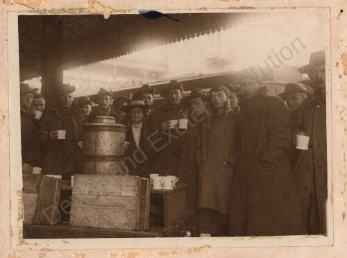 Lady Owen feeding troops at St. David's Station, 1915, Exeter