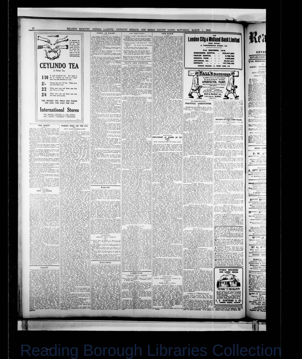 Reading Mercury Oxford Gazette  Saturday, March 4, 1916. Pg 10