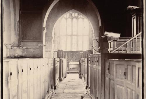 Branscombe Church looking east, c1900, Branscombe