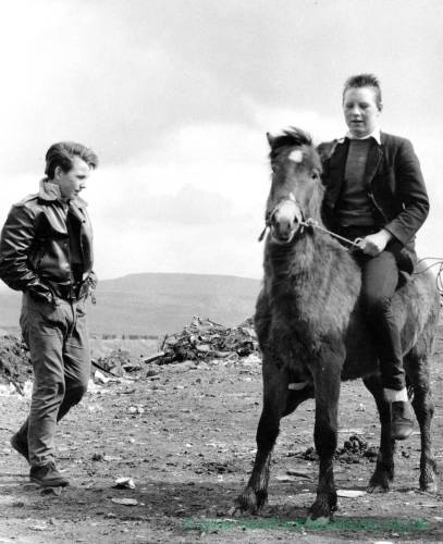 Boy on a Welsh Mountain pony with another boy looking on