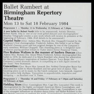 Birmingham Repertory Theatre, February 1984