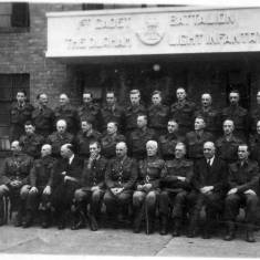 Durham Light Infantry Officers and Men Outside Londonderry Hall, Westoe