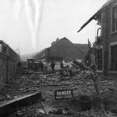 Bomb damage in Fort Street and Palatine Street