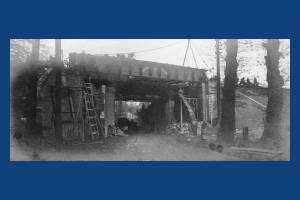 Construction work on the railway bridge at Raynes Park