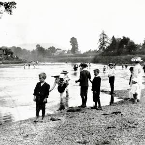 The River Wye below Victoria Bridge, Hereford - children on the River bank