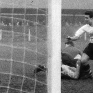 A goalmouth scramble at Edgar Street, 1950s.