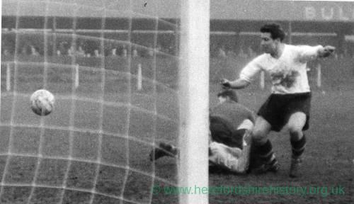 A goalmouth scramble at Edgar Street, 1950s.