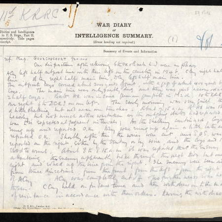 War Diary Extract for 11th Battalion, Kings Royal Rifle Corps - Page 1