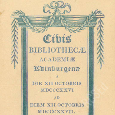Bibliothecae Academie, Edinburgh