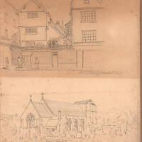 Allhallows Goldsmith Street and Allhallows Church, 1847, Exeter