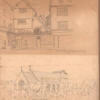 Allhallows Goldsmith Street and Allhallows Church, 1847, Exeter