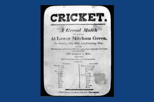 Flyer for an early cricket match featuring the Mitcham XI